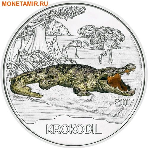 Австрия 3 евро 2017 Крокодил (Colourful Creatures The Crocodile).Арт.60 (фото)