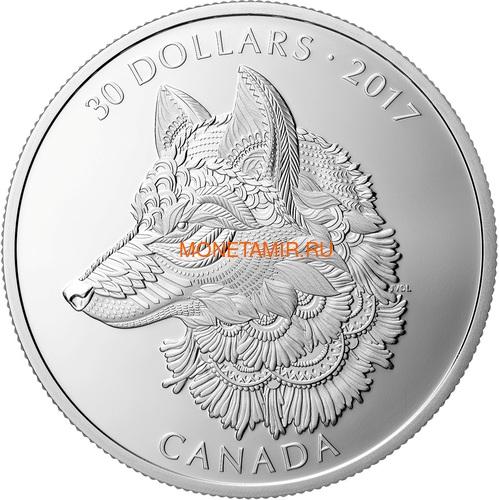 Канада 30 долларов 2017 Волк (Canada 30$ 2017 Wolf 2 oz Silver Coin).Арт.000703854364/60 (фото)