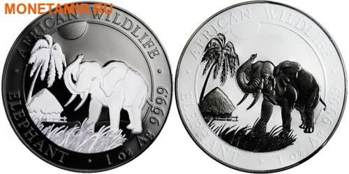 Сомали 2х100 шиллингов 2017 Слон Черный и Белый (Рутений).Арт.000773854397/60 (фото)