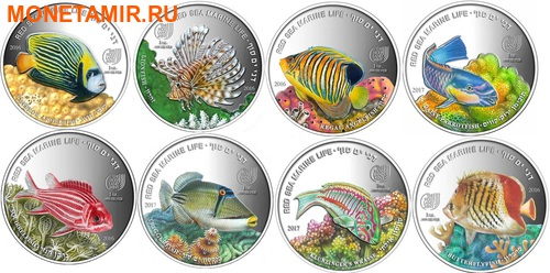 Палау 8х5 долларов 2016 Морская жизнь Красного моря Red Sea Marine Life (набор 8 монет).Арт.60 (фото)