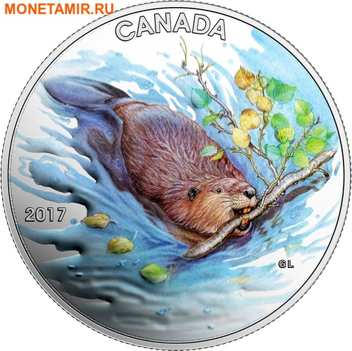 Канада 10 долларов 2017 Бобр с веткой.Арт.60 (фото)