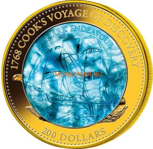 Соломоновы острова 200 долларов 2018 Барк Индевор 250 лет Перламутр (Solomon Isl. 200$ 2018 250Y James Cook's Ship Endeavour Commissioning Mother of Pearl Gold Coin Proof).Арт.60 (фото)