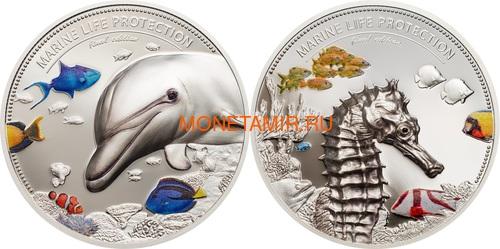 Палау 10 долларов 2017 Дельфин Морской Конек Защита Морской Жизни Набор Две Монеты (Palau 10$ 2017 Dolphin Sea Horse Marine Life Protection Silver Coin Set Piedfort).Арт.60 (фото)