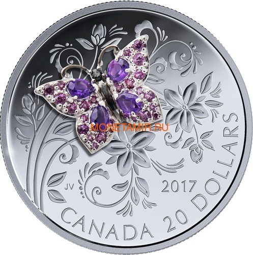 Канада 20 долларов 2017 Бабочка серия Насекомые из Драгоценных Камней (Canada 20$ 2017 BUTTERFLY Bejeweled Bugs Silver Coin).Арт.60 (фото)
