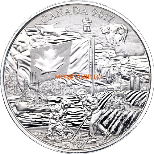 Канада 3 доллара 2017 Дух Канады – Флаг Хоккей Корабль Трактор Медведь Кит Горы (Canada 3$ 2017 Spirit of Canada).Блистер.Арт.60 (фото)