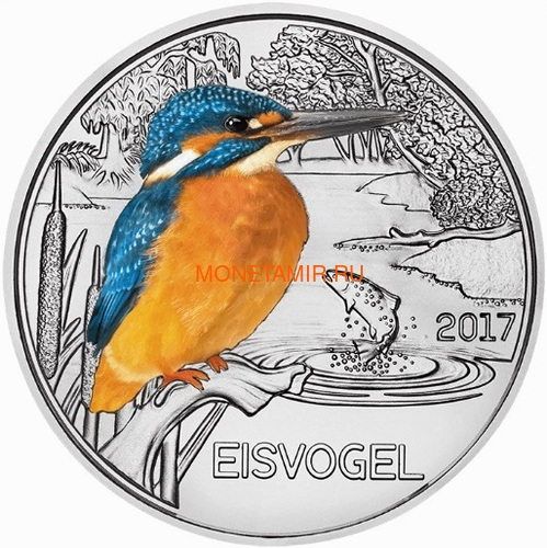 Австрия 3 евро 2017 Зимородок (Colourful Creatures The Kingfisher Austria 3 euro 2017).Арт.60 (фото)