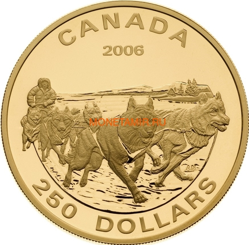Канада 250 долларов 2006 Собачья упряжка Хаски (Canada 250$ 2006 Dog Sled Husky).Арт.006901354504/60 (фото)
