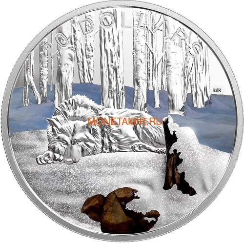 Канада 20 долларов 2017 Арктический волк – Сияющий север (Canada 20$ 2017 Glistening North The Arctic Wolf).Арт.000516254474/60