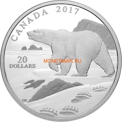Канада 20 долларов 2017 Полярный медведь (Canada 20$ 2017 Paw Prints on the Edge Polar Bear).Арт.000463154463/60 (фото)