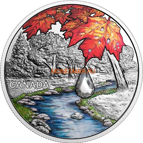 Канада 20 долларов 2017 Клен – Хрустальная капля (Canada 20C$ 2017 Jewel of the Rain Sugar Maple Leaves Swarovski).Арт.000554254478/60 (фото)