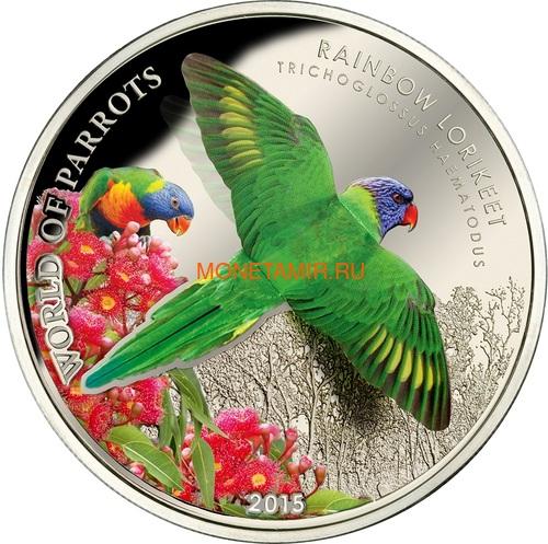 Острова Кука 5 долларов 2015 Многоцветный Лорикет – Мир попугаев 3D (Cook Isl. 5$ 2015 Rainbow Larikeet 3D The World of Parrots).Арт.000337648427/60 (фото)