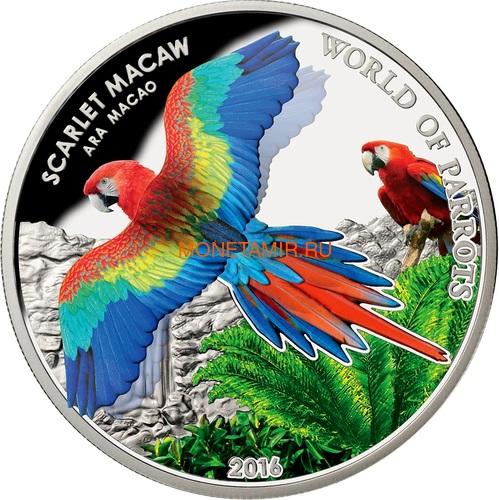 Острова Кука 5 долларов 2016 Красный Ара – Мир попугаев 3D (Cook Isl. 5$ 2016 Scarlet Macaw 3D The World of Parrots).Арт.000442852870 /60 (фото)