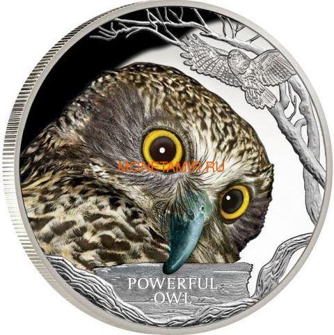 Тувалу 1 доллар 2018 Иглоногая Сова – Исчезающие виды (Tuvalu 1$ 2018 Endangered Extinct Powerful Owl).Арт.60 (фото)