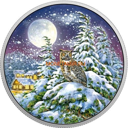 Канада 30 долларов 2017 Ушастая Сова в Лунном свете (Canada 30$ 2017 Glow-In-The-Dark Coin - Animals in the Moonlight Great Horned Owl).Арт.60 (фото)