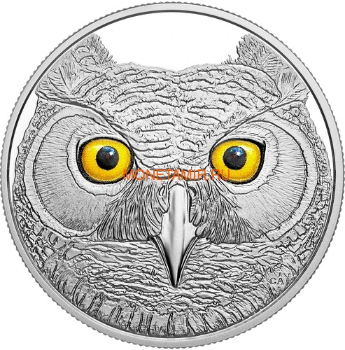 Канада 15 долларов 2017 Ушастая Сова (Canada 15$ 2017 Glow-In-The-Dark Coin Great Horned Owl).Арт.60 (фото)