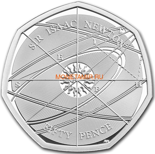 Великобритания 50 пенсов 2017 Исаак Ньютон (Sir Isaac Newton 2017 UK 50p Silver).Арт.60