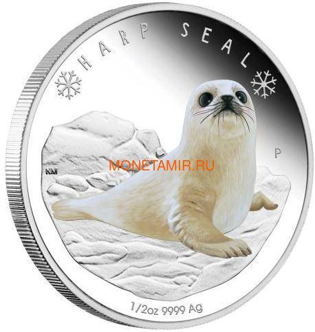 Тувалу 50 центов 2017 Детеныш Полярного Гренландского Тюленя (Tuvalu 0,5$ 2017 Harp Seal Baby Polar Babies).Арт.60 (фото)