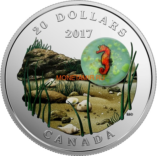 Канада 20 долларов 2017 Морской Конек серия Под водой 3D Капля (Canada 20C$ 2017 Under the Sea Sea Horse).Арт.60 (фото)