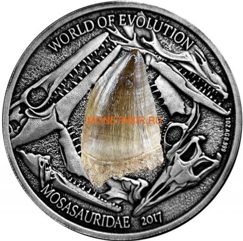 Буркина Фасо 1000 франков 2017 Мозазавр – Мир эволюции (Burkina Faso 1000FCFA 2017 Mosasauridae Fossil Mosasaurus World of Evolution).Арт.60 (фото)