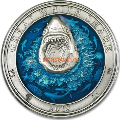 Барбадос 5 долларов 2018 Большая Белая Акула Подводный Мир (Barbados 5$ 2018 Great White Shark Underwater World).Арт.60 (фото)