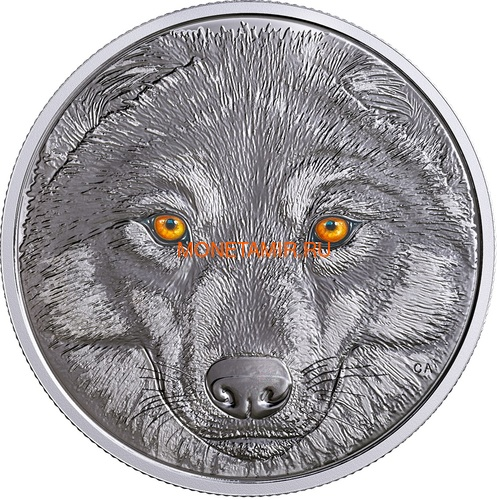 Канада 15 долларов 2017 Волк (Canada 15$ 2017 Glow-In-The-Dark Coin Wolf).Арт.60 (фото)