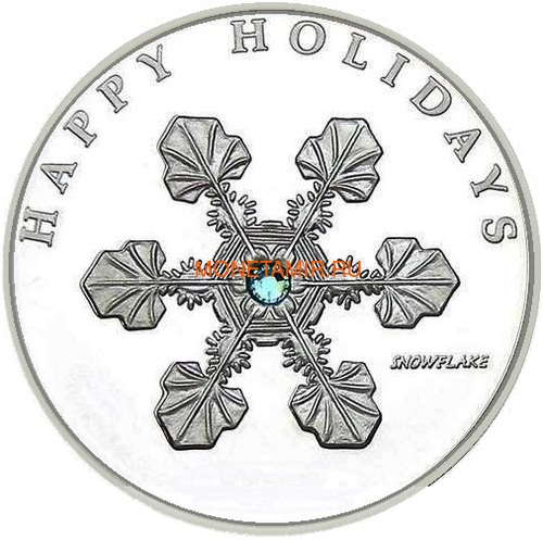 Палау 1 доллар 2006 Снежинка – Рождественские праздники (Palau 1$ 2006 Happy holidays Snowflake Swarovski).Арт.000227513413/60 (фото)
