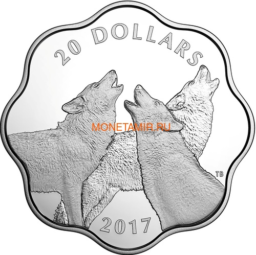 Канада 20 долларов 2017 Лесной Волк Эксклюзивная серия Мастер Клуб (Лотос) Canada 20$ 2017 EXCLUSIVE Masters Club Coin Series Timber Wolf.Арт.60 (фото)