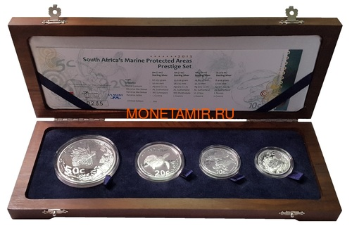 Южная Африка 85 центов 2013 Крылатка Черепаха Латимерия Рыба Клоун Морские животные Охрана морских территорий Набор 4 монеты (South Africa 85c 2013 Marine Areas 4 coin Prestige Set).Арт.002201444026/60 (фото)