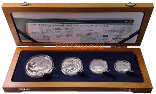 Южная Африка 85 центов 2014 Акулы Дельфины Black Musselcracker Аммонит Морские животные Охрана морских территорий Набор 4 монеты (South Africa 85c 2014 Marine Areas 4 coin Prestige Set).Арт.002073850461/60 (фото)