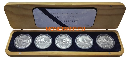 Острова Кука 5х5 долларов 1999 Корабли которые сделаны в Австралии Набор 5 монет (Cook Islands 5 Coins Set 1999 Ships that made Australia 2oz).Арт.001784155371/60 (фото)