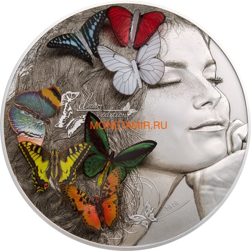 Палау 20 долларов 2018 Экзотические Бабочки 3D (Palau 20$ 2018 Exotic Butterflies Dream Edition 3D).Арт.60