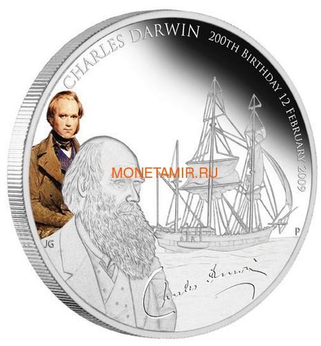 Тувалу 1 доллар 2009 Чарльз Дарвин 200 лет Корабль (Tuvalu 1$ 2009 Charles Darwin 200th Anniversary).Арт.69 (фото)