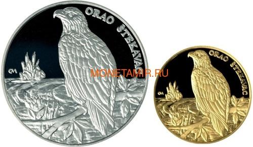Хорватия 150 + 500 кун 1997 Баранья Орлан-белохвост Набор 2 монеты (Croatia 500+150 Kuna 1997 Baranja Orao Stekavac Gold Silver Set).Арт.000475016629K2,5/60 (фото)