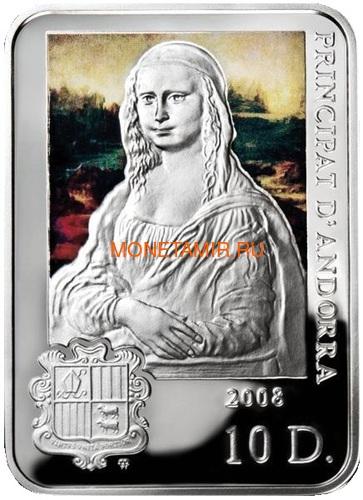 Андорра 10 динеров 2008 Мона Лиза Леонардо да Винчи Художники мира (Andorra 10D 2008 Leonardo Da Vinci Mona Lisa Painters of the World).Арт.000206820028/60 (фото)