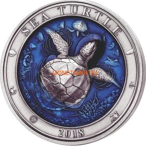 Барбадос 5 долларов 2018 Морская Черепаха Подводный Мир (Barbados 5$ 2018 Sea Turtle Underwater World).Арт.60 (фото)