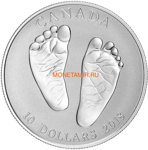 Канада 10 долларов 2018 Добро пожаловать в мир Монета на рождение Ножки (Canada 10C$ 2017 Welcome to the World Baby Foots).Арт.60