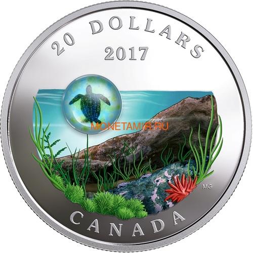 Канада 20 долларов 2017 Морская Черепаха серия Под водой 3D Капля (Canada 20C$ 2017 Under the Sea Sea Turtle).Арт.60 (фото)