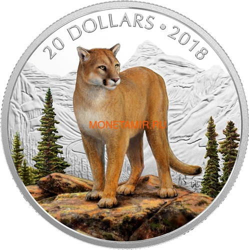 Канада 20 долларов 2018 Пума Величественные Животные (Canada 20C$ 2018 Courageous Cougar).Арт.000441155503/60