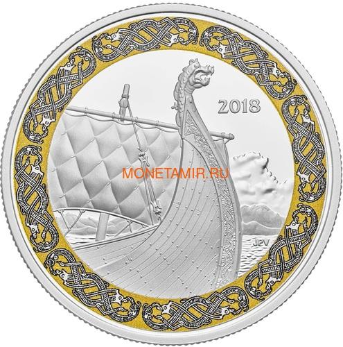 Канада 20 долларов 2018 Корабль Дракон Корабли Викингов (Canada 20C$ 2018 Viking Ships Dragon's Sail).Арт.000441155501/60 (фото)