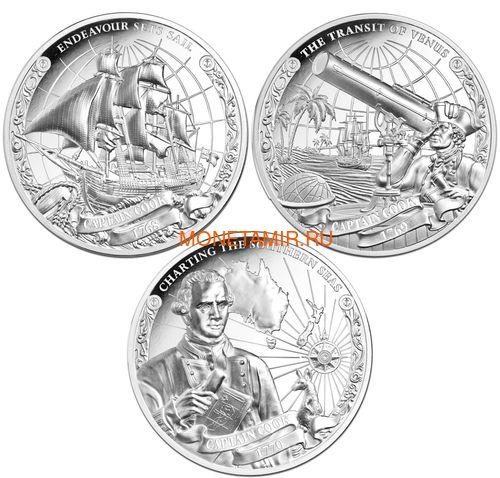 Острова Кука 3х5 долларов 2018 Капитан Кук Набор 3 монеты (Cook Isl. 3x5$ 2018 Captain Cook 3 coin Set Ship Ultra High Relief 1oz Silver Proof).Арт.60