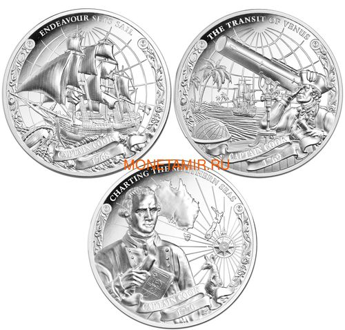 Острова Кука 3х5 долларов 2018 Капитан Кук Набор 3 монеты (Cook Isl. 3x5$ 2018 Captain Cook 3 coin Set Ship Ultra High Relief 1oz Silver Proof).Арт.60 (фото)