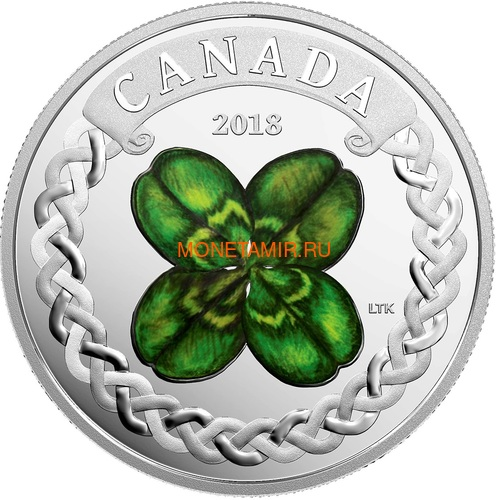Канада 20 долларов 2018 Клевер (Canada 20C$ 2018 Lucky Four Leaf Clover).Арт.000441155497/60 (фото)