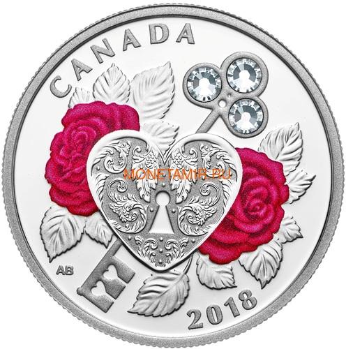 Канада 3 доллара 2018 Праздник Любви Сердце Розы (Canada 3C$ 2018 Celebration of Love Swarovski).Арт.000232455490/60