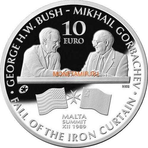Мальта 10 евро 2015 Буш и Горбачев Саммит на Мальте Падение Железного Занавеса (Malta 10E 2015 M.Gorbachev & G.Bush Fall of the Iron Curtain).Арт.000427555554/60 (фото)