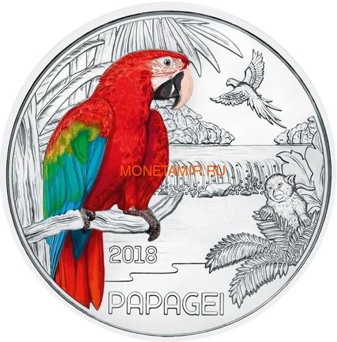 Австрия 3 евро 2018 Попугай (Colourful Creatures The Parrot Austria 3 euro 2018).Арт.60 (фото)