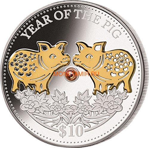 Фиджи 10 долларов 2019 Год Свиньи Лунный календарь Жемчужина (Fiji 10$ 2019 Lunar Pig Pearl).Арт.60 (фото)