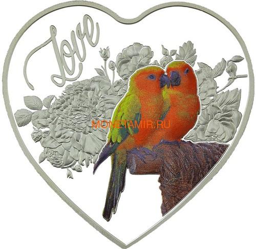 Токелау 1 доллар 2018 Любовь Попугаи Сердце (Tokelau 1$ 2018 Love Parrots Bird Heart Shaped).Арт.000462256510/60
