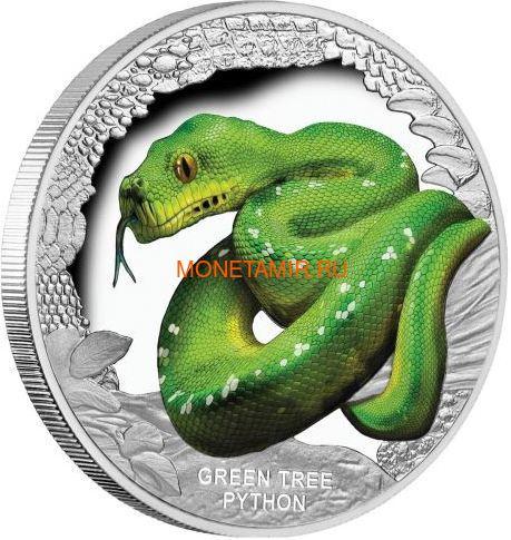 Тувалу 1 доллар 2018 Зеленый Питон Замечательные Рептилии (Tuvalu 1$ 2018 Green Tree Python Remarkable Reptiles 1 oz Silver Coin).Арт.60 (фото)