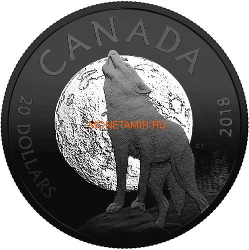 Канада 20 долларов 2018 Воющий Волк Луна Ночная природа (Canada 20C$ 2018 Nocturnal by Nature Howling Wolf).Арт.60 (фото)