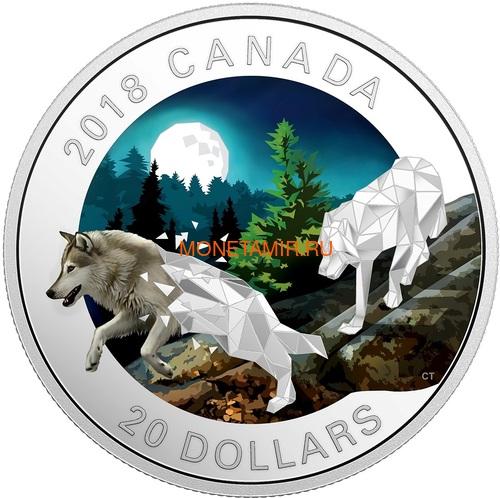 Канада 20 долларов 2018 Волки Геометрическая Фауна (Canada 20C$ 2018 Geometric Fauna Grey Wolves).Арт.60 (фото)